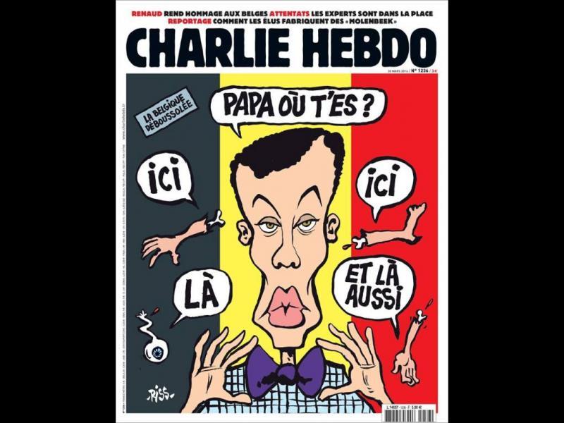 /ВИДЕО+СНИМКИ/Атентатите в Брюксел - новата корица на Шарли Ебдо
