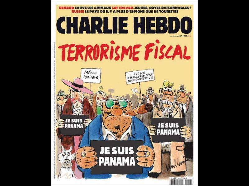 """/СНИМКИ/ Досиетата """"Панама""""- новата корица на Шарли Ебдо - картинка 1"""