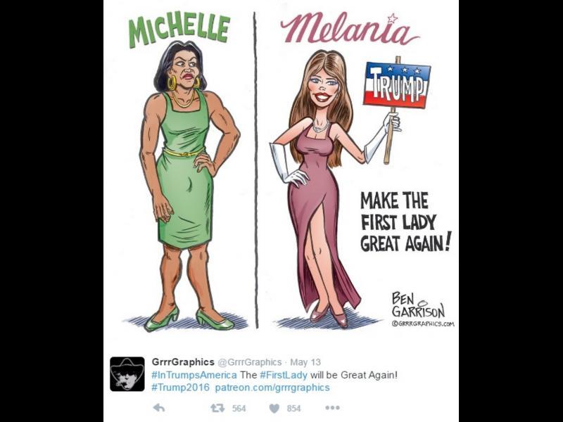 Карикатурист нарисува Мишел Обама. Обвиниха го в расизъм - картинка 1