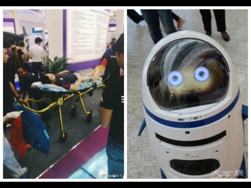 Робот нападна човек на киберизложение в Китай