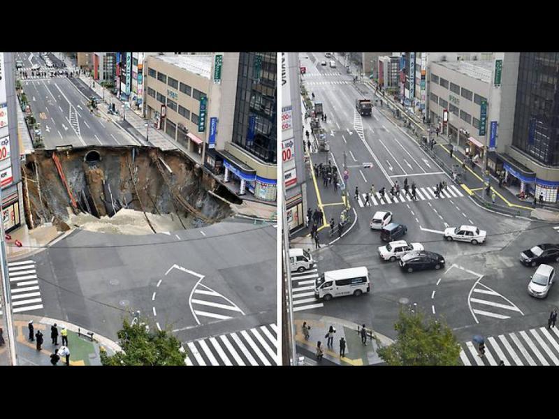 Запълниха огромната дупка в Япония само за два дни!