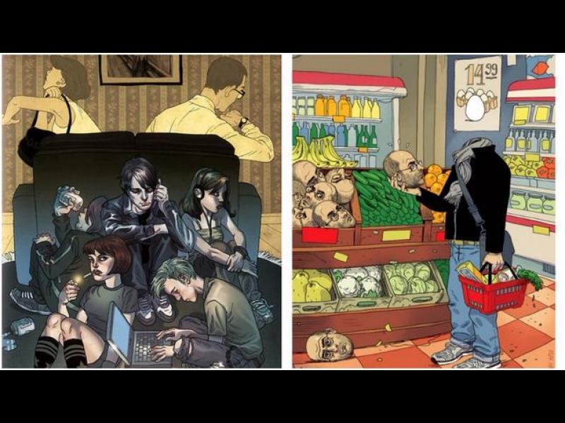 Философски илюстрации, показващи бруталността на съвременния свят