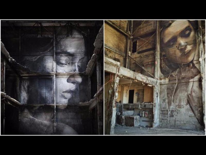Огромни портрети на жени върху изоставени сгради - картинка 1