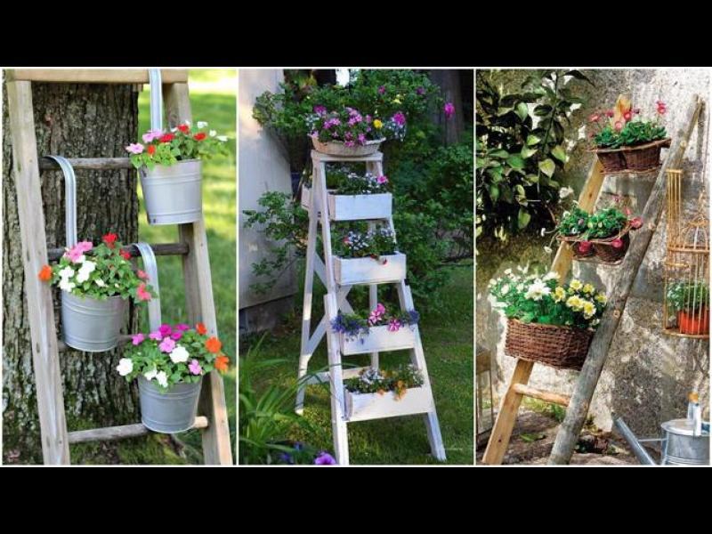 Пролетни идеи: Стари стълби като мини градина