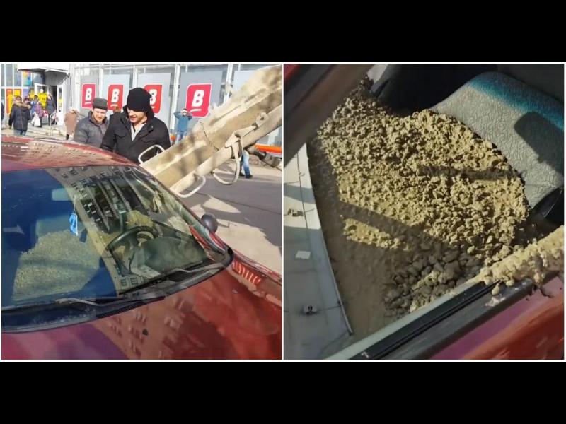 Мъж напълни колата на жена си с бетон /ВИДЕО/