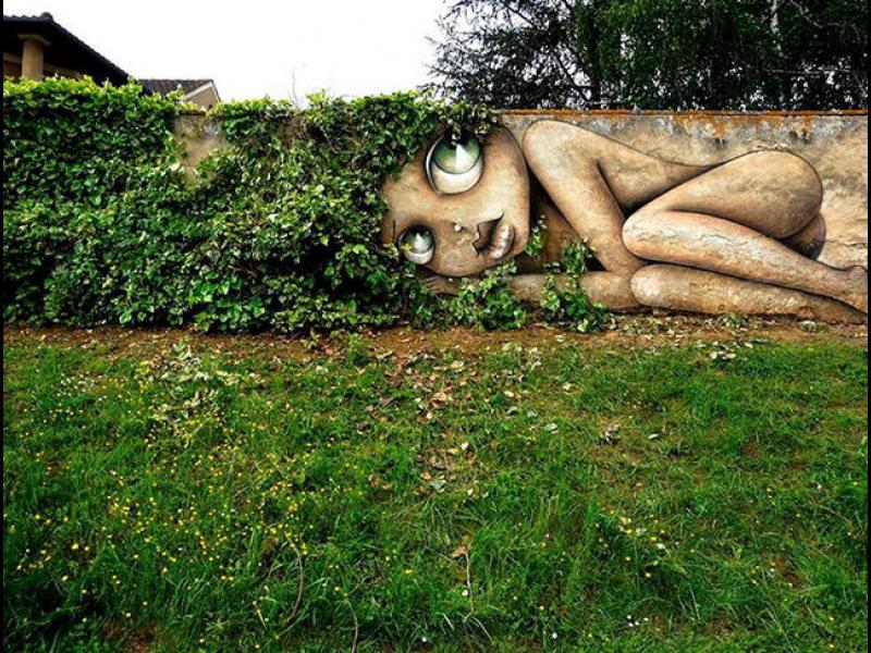 Улично изкуство, перфектно сливащо се с природата