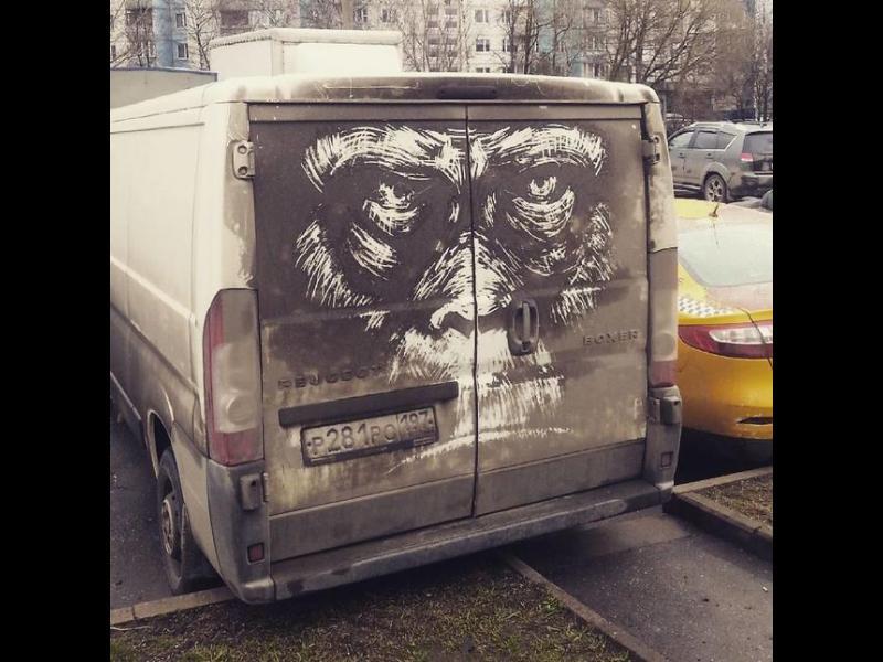 Изкуство върху мръсни коли и камиони /СНИМКИ/