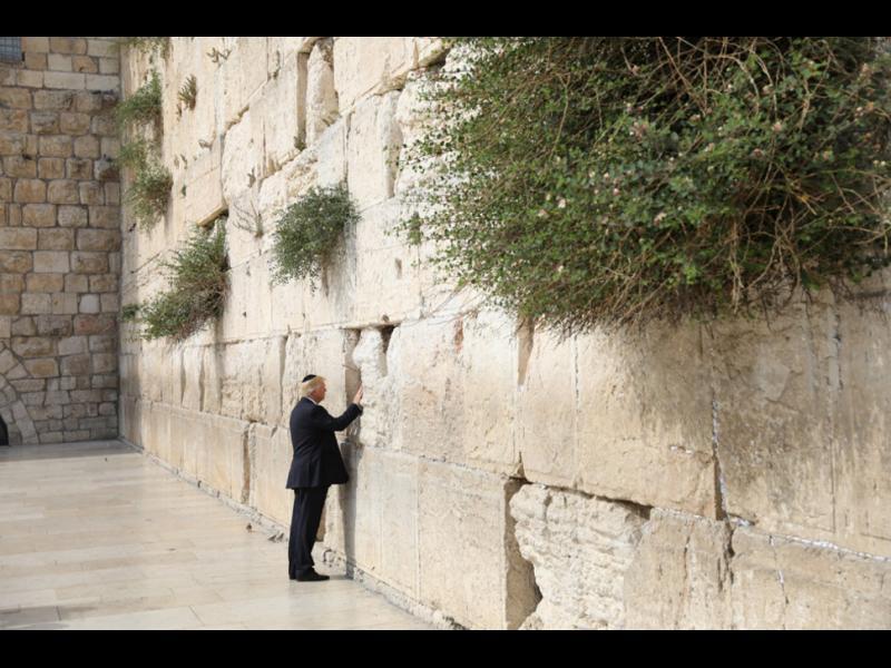 Тръмп посети Западната стена в Ерусалим и пъхна листче с желания между камъните