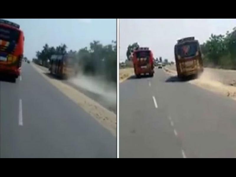 Автобусни шофьори се гонят из Индия /ВИДЕО/