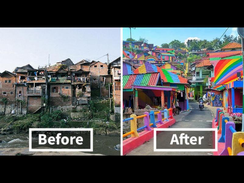 Бедно село в Индонезия, боядисано в цветовете на дъгата /СНИМКИ/ - картинка 1