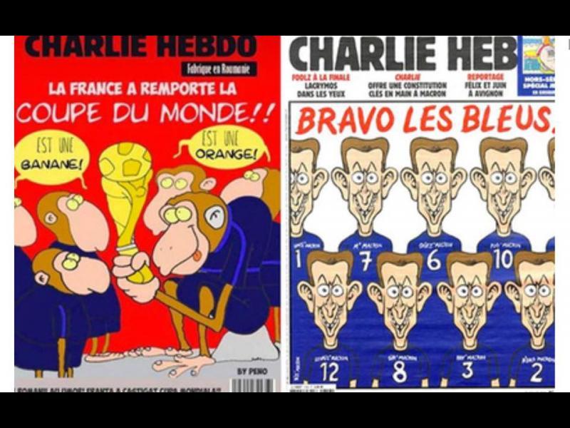 Класическата руска хибридка: корица на Charlie Hebdo с футболни маймуни